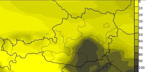 Besonders m Südosten gibt es Hochnebel, im Westen und Norden hingegen Sonne