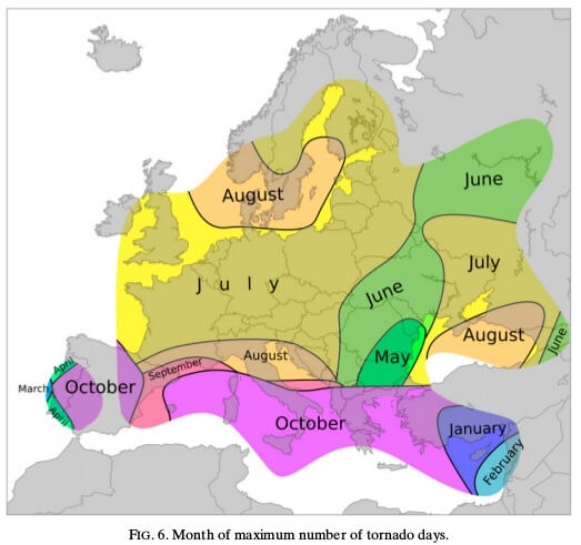 Im Mittelmeer gibt es im Herbst die meisten Tagen mit Tornados