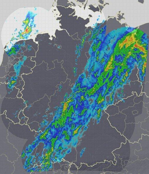 Eine Kaltfront bringt Regen