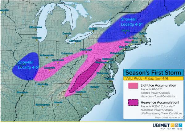 Glatteisregen in den USA: betroffene Regionen @ UBIMET