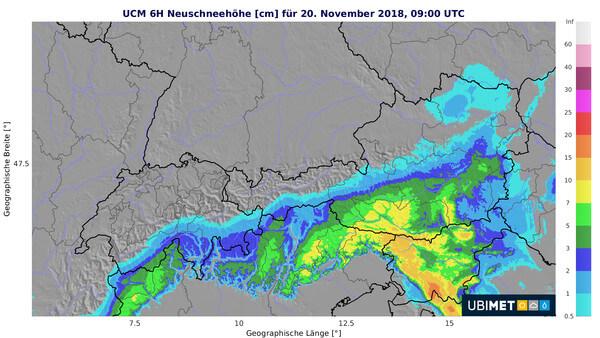 Modellprognose der 6h-Neuschneemenge von Dienstag 04:00 bis 10:00 Uhr @ UBIMET