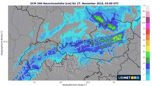 Prognostizierte 24-stündige Neuschneehöhe am Dienstagmorgen, den 27.11.2018 @ UBIMET