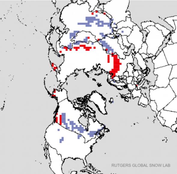 Aktuelle Schneeausdehnung im Vergleich zum langjährigen Durchschnitt