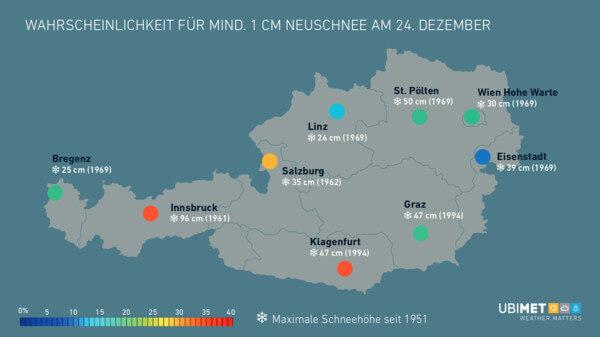 Wahrscheinlichkeit für Schnee am 24. Dezember und maximale Schneehöhe seit 1951 @ UBIMET
