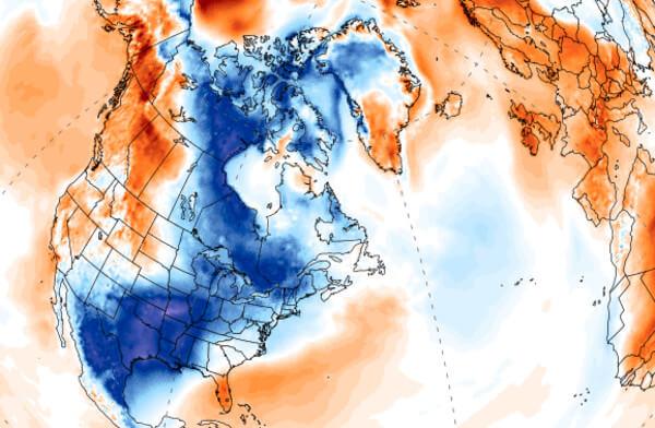 Momentane Temperaturabweichung auf Teilen der Nordhemisphäre @ https://climatereanalyzer.org/