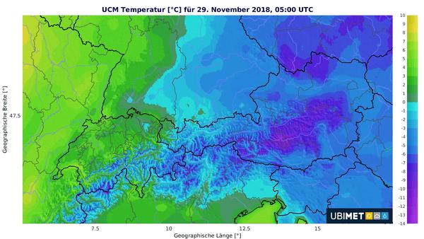 Die Temperaturen sinken fast überall ins Minus.