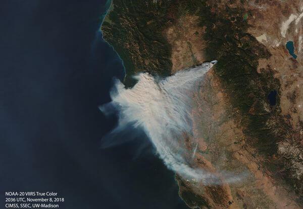 Riesige Aschewolken aufgrund der Brände