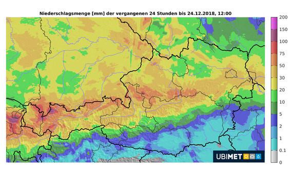 Kräftiger Regen an der Alpennordseite.