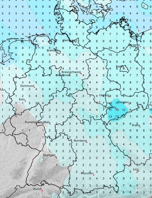 In der Nordosthälfte fällt vorübergehend kräftiger Regen
