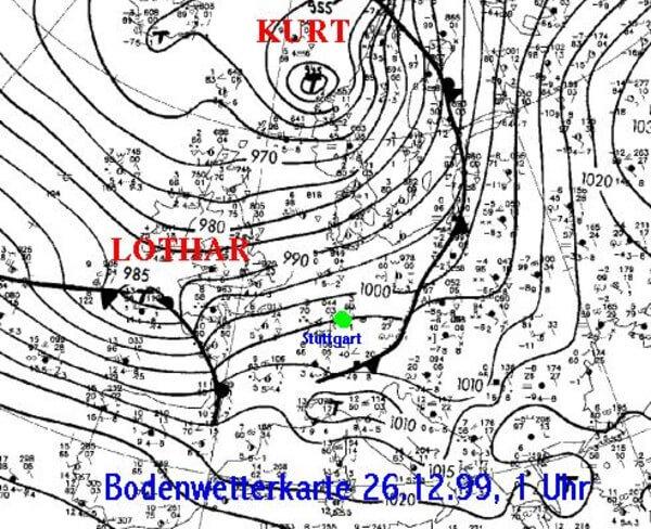 Bodendruckkarte vom 26.12.1999, 01 Uhr @ http://www.wetter-express.de/lothar.htm
