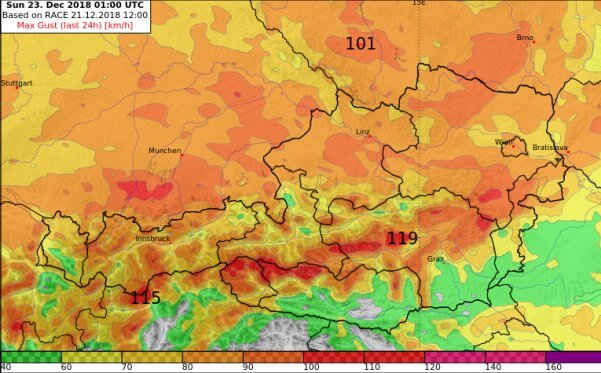 An der Alpennordseite gibt es Sturm