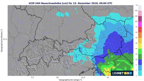 Prognose der 24h-Neuschneemenge bis Samstagvormittag @ UBIMET