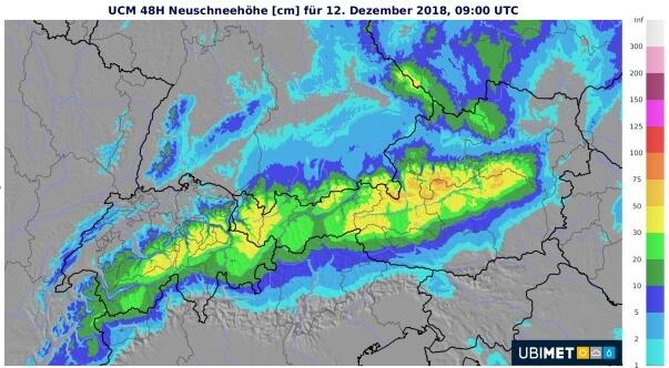 Schneeprognose bis Mittwochmittag