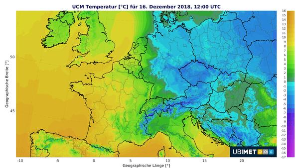 Temperaturen Sonntagmittag