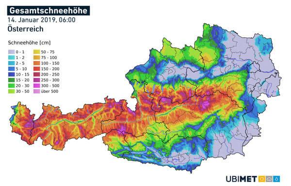 Analyse der Gesamtschneehöhe vom Morgen des 14.01.2019 (Montag) @ UBIMET