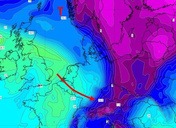 Aus Nordwesten erfasst und deutlich mildere Luft