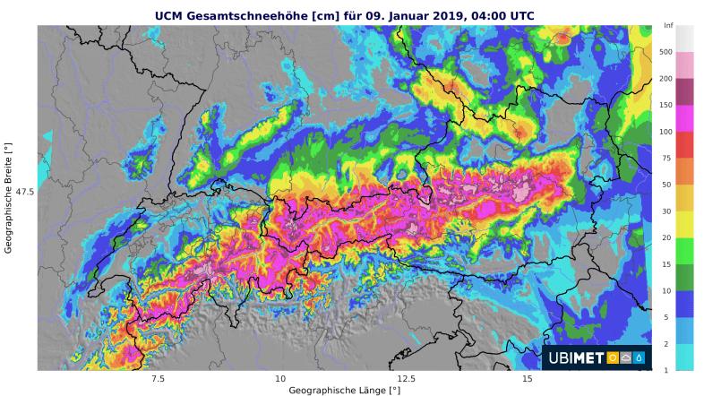 Analysierte Gesamtschneehöhen Mittwochmorgen @ UBIMET