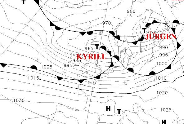 Kyrill Wetterkarte