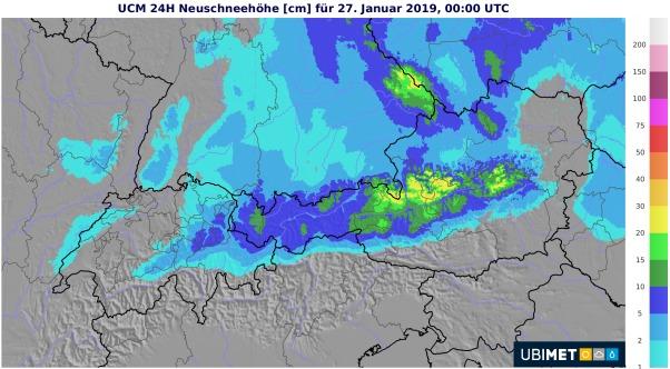 In den Nordalpen gibt es teil über 10 cm Neuschnee