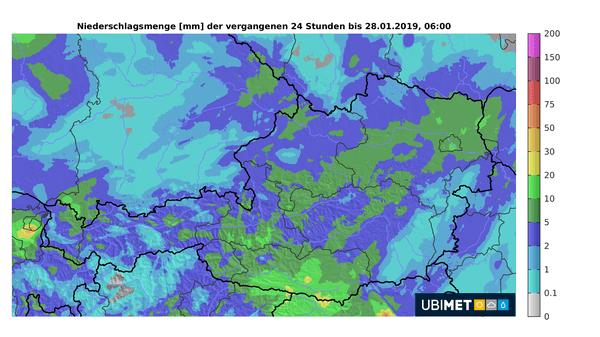 Niederschlagsmengen der vergangenen 24 Stunden