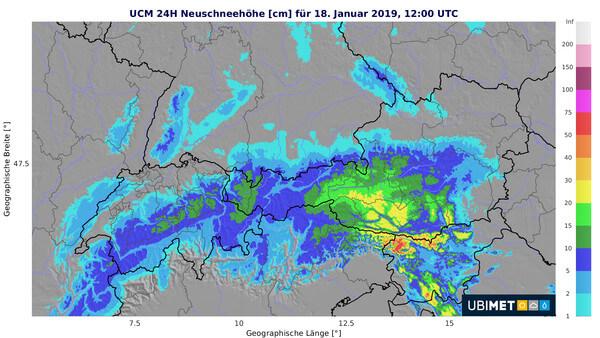 Prognose des Neuschnees über 24h bis Freitagmittag @ UBIMET