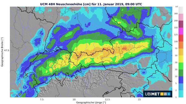 Prognose der Neuschneehöhe bis Freitagmorgen @ UBIMET