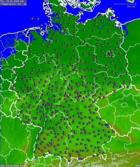 Gemessene Temperaturen Donnerstagmittag @ UBIMET, DWD