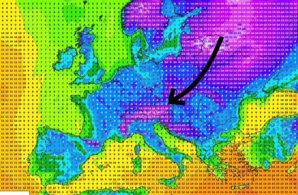 Tiefsttemperaturen Mittwochmorgen @ UBIMET, ECMWF