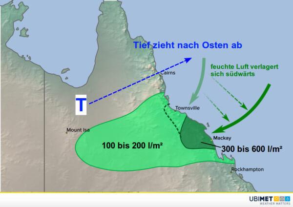 Der Regen in Queensland verlagert sich nach Süden.