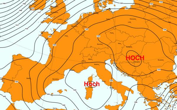 Gleich zwei Hochs bestimmen das Wetter im Alpenraum.