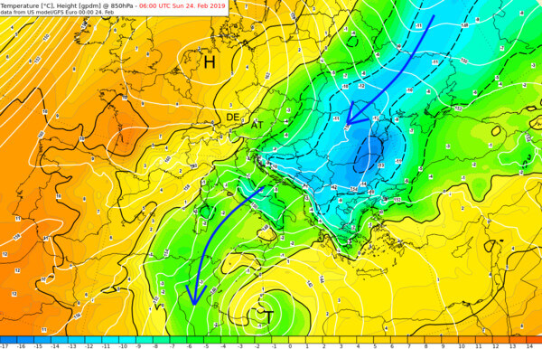 Kaltluftvorstoß über Südosteuropa - Temperatur in 850 hPa am Sonntagmorgen @ UBIMET, NOAA
