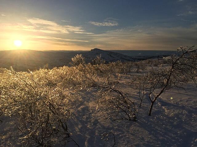 Schnee und Eiseskälte in Jämtland.