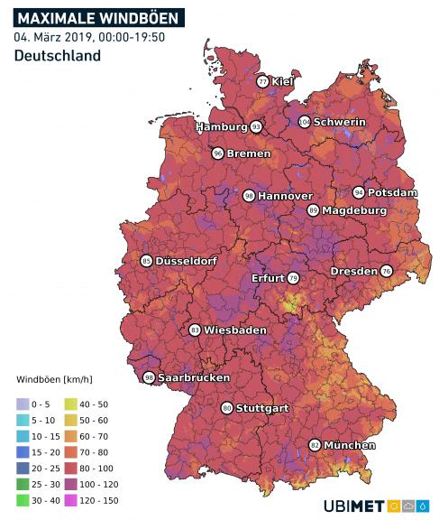 Maximale Windböen in DE am 04.03.2019 bis 19:50 Uhr MEZ - DWD, UBIMET