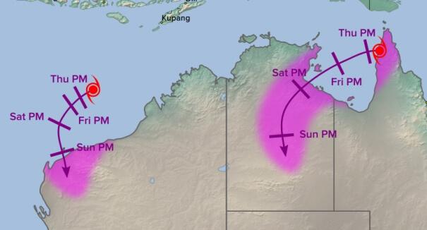 Zwei Zyklone treffen auf Australien