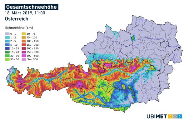 Analyse der Schneehöhe in Kärnten am Montagvormittag. © UBIMET
