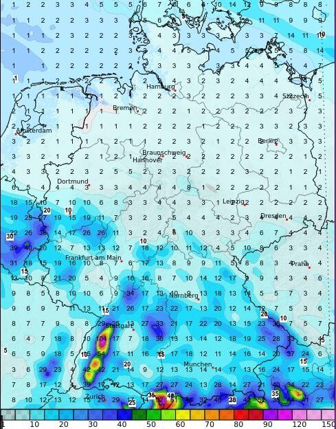 Prognostizierte Regenmengen bis Samstagfrüh