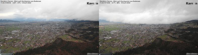 Aufziehende Schauer- und Gewitterlinie in Dornbirn gegen 10 Uhr (Montag) @ https://www.foto-webcam.eu/webcam/dornbirn