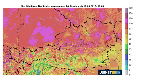 VERA-Analyse der maximalen Böen über 24 Stunden bis Montagmorgen @ UBIMET