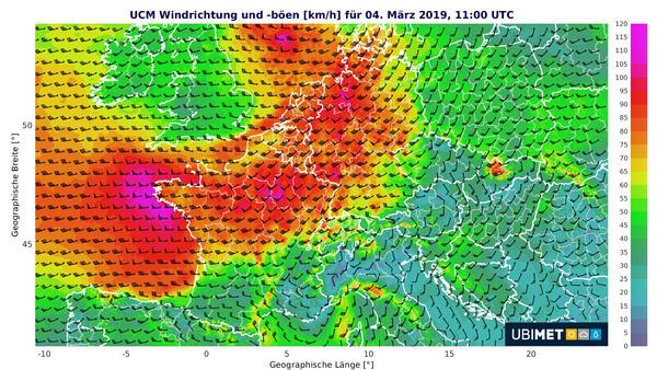 Prognose der Spitzenböen am Montagmittag, 04.03.2019 @ UBIMET, Stand 01.03.2019