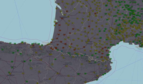 Temperaturen Mittwochnachmittag, 27.02.2019 im Umfeld der Pyrenäen @ UBIMET, Aemet, MeteoFrance