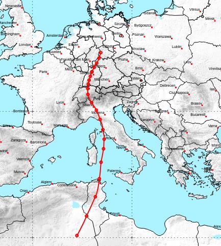 Trajektorie der Luft in etwa 3000 m Höhe zwischen dem 22.04. und dem 24.04.2019 - UBIMET