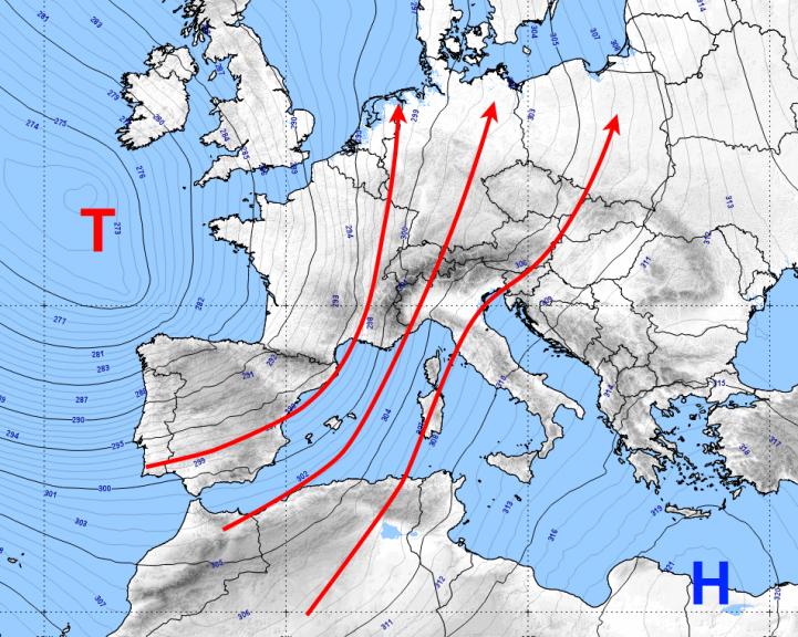 Höhenströmung in etwa 3000 m Höhe für den 24.04.2019 - ECMWF/UBIMET