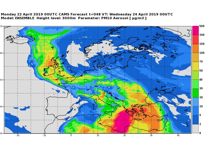 Saharastaub-Konzentration über Europa am 24.04.2019 um 00UTC - ECMWF/COPERNICUS