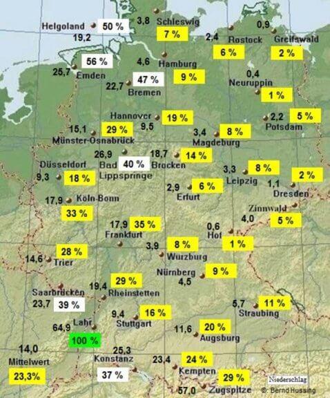 Bisherige Niederschlagssumme und der prozentuale Anteil am Monatssoll @ http://www.bernd-hussing.de/klima.htm
