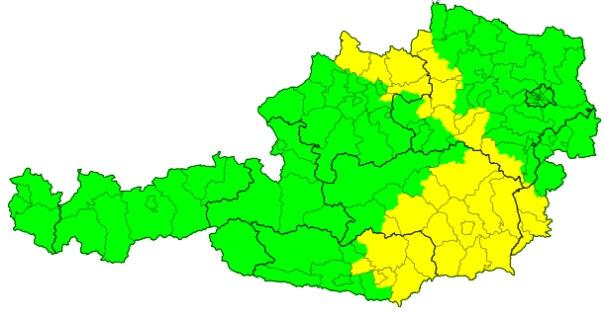 Die Vorwarnungen vor Gewitter in der Steiermark sowie im Mühlviertel