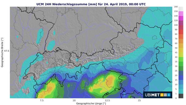 Niederschlagsprognose für Dienstag @ UBIMET