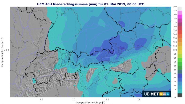 Niederschlagsumme Montag und Dienstag