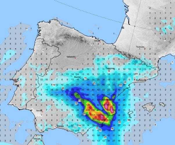 Im Südosten Spanien fällt kräftiger Regen
