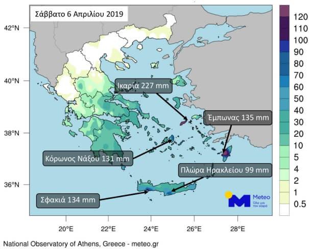 Auf Kreta gab es bis zu 134 mm am Samstag
