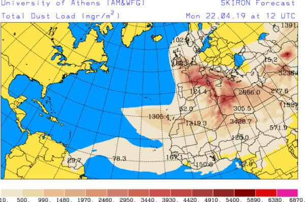 Prognostizierte Staubkonzentration in der Luft am Montag @ http://forecast.uoa.gr/dustindx.php